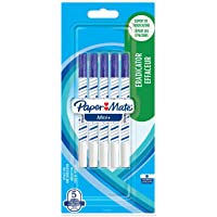 Paper Mate Mini+ penna con cancellino, punta fine, blu, confezione da 5