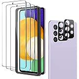 omitium 5 Stuks Screenprotector voor Samsung Galaxy A52 5G, 2 Camera Lens Protector + 3 Pantserglasfolie met Positionering Hu