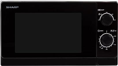 Sharp R-200(BK)W Mikrowelle / 800 W / 20 L Garraum / Mechanische Bedienung / Grau lackierter Innenraum zur einfachen Reinigung / Auftau-Hilfe / schwarz