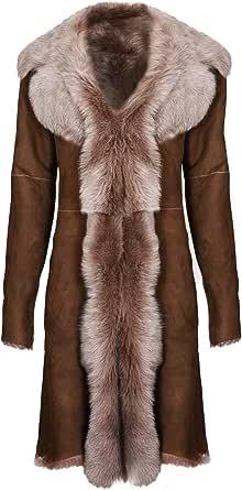 Infnity Leather Impermeabile da Donna Marrone in Vera Pelle Scamosciata da Toscana