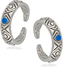 Oviya Rhodium Plated Fabulous Antique Toe Ring Pair with Crystal Stone for Girls and Women TR2101011RBlu