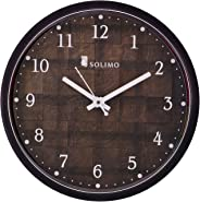 Amazon Brand - Solimo 12-inch Wall Clock - Checkered (Silent Movement, Black Frame)