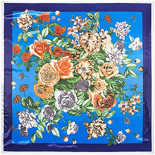 Flyrcx classico europeo moda stampato fiori foulard di seta lady's scialle 90cmx90cm,c