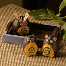 ExclusiveLane Small 'Triple Owl Shaped' Terracotta Salt & Pepper Shaker Set With Toothpick Holder & Tray -Salt And Pepper Set For Dining Table Salt & Pepper Shakers Set Holder Container Dispensers For Home Kitchen Drizzlers & Dressing Shakers Salt And Pepper Grinder Kitchen Accessories And Organisation Salt And Pepper Dispenser