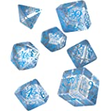 Q WORKSHOP Elvish Translucent & Blue Rpg Ornamented Dice Set 7 Polyhedral Pieces