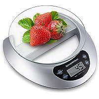 Bonsenkitchen Bilancia da cucina Digitale  vassoio di vetro con funzione e rimozione tara  5kg 11 lbs Professionale Acciaio Inox Alta Precision Bilancia Elettronica per la Casa e la Cucina  Argento