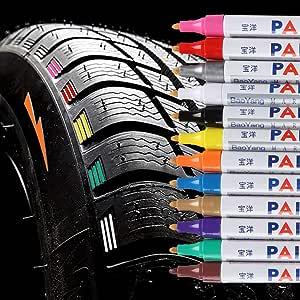 Qbisolo 12 Stücke Reifenfarbe Marker Pens Wasserdichte Permanent Pen Reifenstift Marker Stift Für Auto Motorrad Reifenprofil Fahrradreifen Alles Bürobedarf Schreibwaren