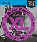 D'Addario EKXL120 - Juego de cuerdas para guitarra eléctrica de níquel, Super Light, 09-42