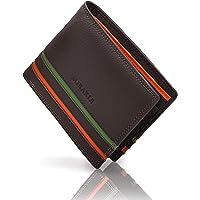 Mirakle Portafoglio Uomo Slim Vera Pelle Blocco RFID, Bifold Portafogli Piccolo Sottile con Tasca Portamonete, Porta…