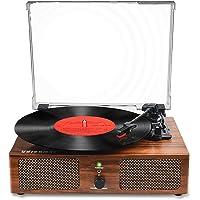 Vinyl Plattenspieler Bluetooth Plattenspieler mit eingebauten Lautsprechern und USB Riemenantrieb Vintage Phonograph…