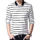 LEOCLOTHO Men's Striped Polo T-Shirt Long Sleeve Casual Cotton Tee Tops