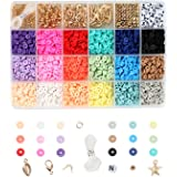 Colcolo 1 Doos Platte Polymeer Klei Kralen Losse Hanger Ringetjes Elastische Snaren voor DIY Armbanden Sieraden Maken Handgem