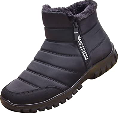 GILKUO Men's Winter Shoes Faux Fur Warm Lined Zip Winter Boots Snow Boots