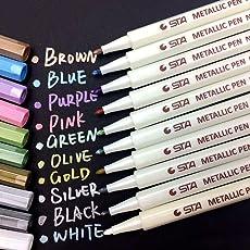 Oddis Metallic Marker Pens, Satz von 10 Farben metallischen Stift Marker für Kartenherstellung und DIY Fotoalbum