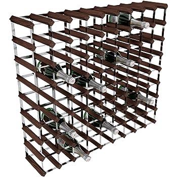 RTA - Porta-Bottiglie di Vino, 80 Posizioni, in Acciaio galvanizzato/Mogano, Marrone