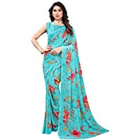 SIRIL Women's Georgette Printed Saree with Blouse