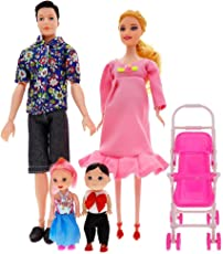 HitTime 6Pcs Barbie Dolls Set Family Pregnant Doll Mom Baby Dad Kids