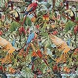 Fabulous Fabrics Jacquard Gobelin Tropen Paradies – grün — Meterware ab 0,5m — zum Nähen von Outdoor-Deko, Kissen und Tagesdecken und Tischdekorationen