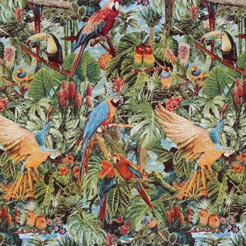 Jacquard-stoff-tasche (Fabulous Fabrics Jacquard Gobelin Tropen Paradies - grün - Meterware ab 0,5m - zum Nähen von Dekoration, Kissen und Tischdecken)