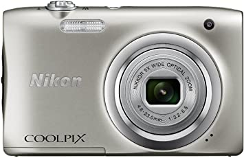 Nikon Coolpix A100 Point and Shoot Digital Camera (Silver) with Card and Camera Case