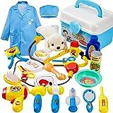 BUYGER 2 in 1 Kit Giochi Veterinario Bambini, Valigetta Dottore Giocattolo con Cane Peluche Costume Dottore, Giochi Bambini 3