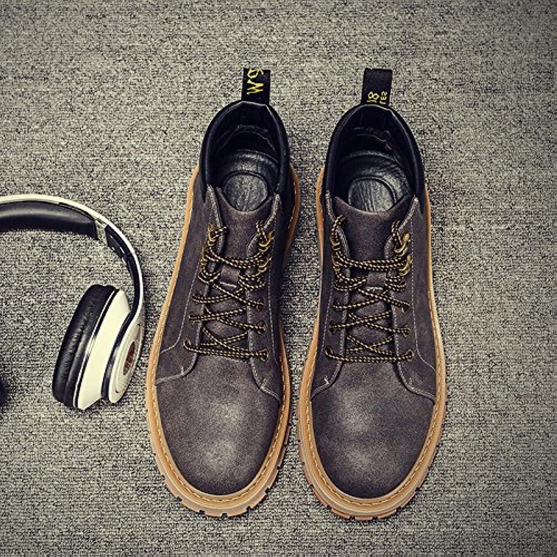 HL-PYL-Martin botas botas masculino Volver al antiguo Jefe de alta zapatos de cuero hombres botas,44,gris  -