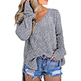 Jersey de mujer de manga larga de estilo casual y a la moda, suéteres con cuello en V, color liso, deportivo, para otoño e in