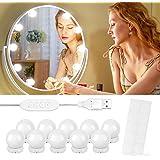 Luces para Espejo de Maquillaje, 10 Luces de Espejo de Tocador con 10 Cintas Autoadhesivas y Interfaz USB, Luces Tocador Maqu
