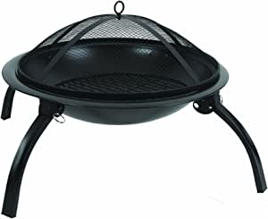 Charles Bentley BBQ 57cm Round Outdoor Foldable Charcoal Fire Pit with Folding Legs - Black