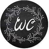 Logbuch-Verlag Wc-bord zwart wit rond 15,5 cm in krijtbord-look - WC schild deurschild toiletbord neutraal voor dames en here