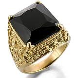 INBLUE Men's Stainless Steel Glass Ring Knight Fleur De Lis Dragon Claw
