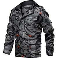 Sunward Men's Zipper Hoodie Camouflage Autumn Winter Imitation Leather Coat Blouse