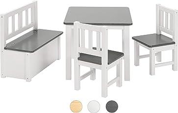 Bomi Kindermöbel Anna Tisch und Stühle | Kindertruhenbank aus Kiefer Massiv Holz für Kleinkinder, Mädchen und Jungen Anthrazit