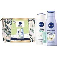 NIVEA Wegbegleiter Geschenkset, Set mit Kulturtasche, Pflegedusche, Body Lotion und Labello Lip Scrub, Pflegeset voller…