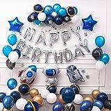Ponmoo 87 piezas Globos Cumpleaños de Niño, Azul Decoraciones para Espacio Fiestas de Cumpleaños, Globo de Cohete Astronauta