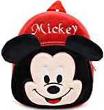 DZert Mickey Kids Bags for School Baby/Boys/Girls Velvet (Red) (2 to 5 Years)