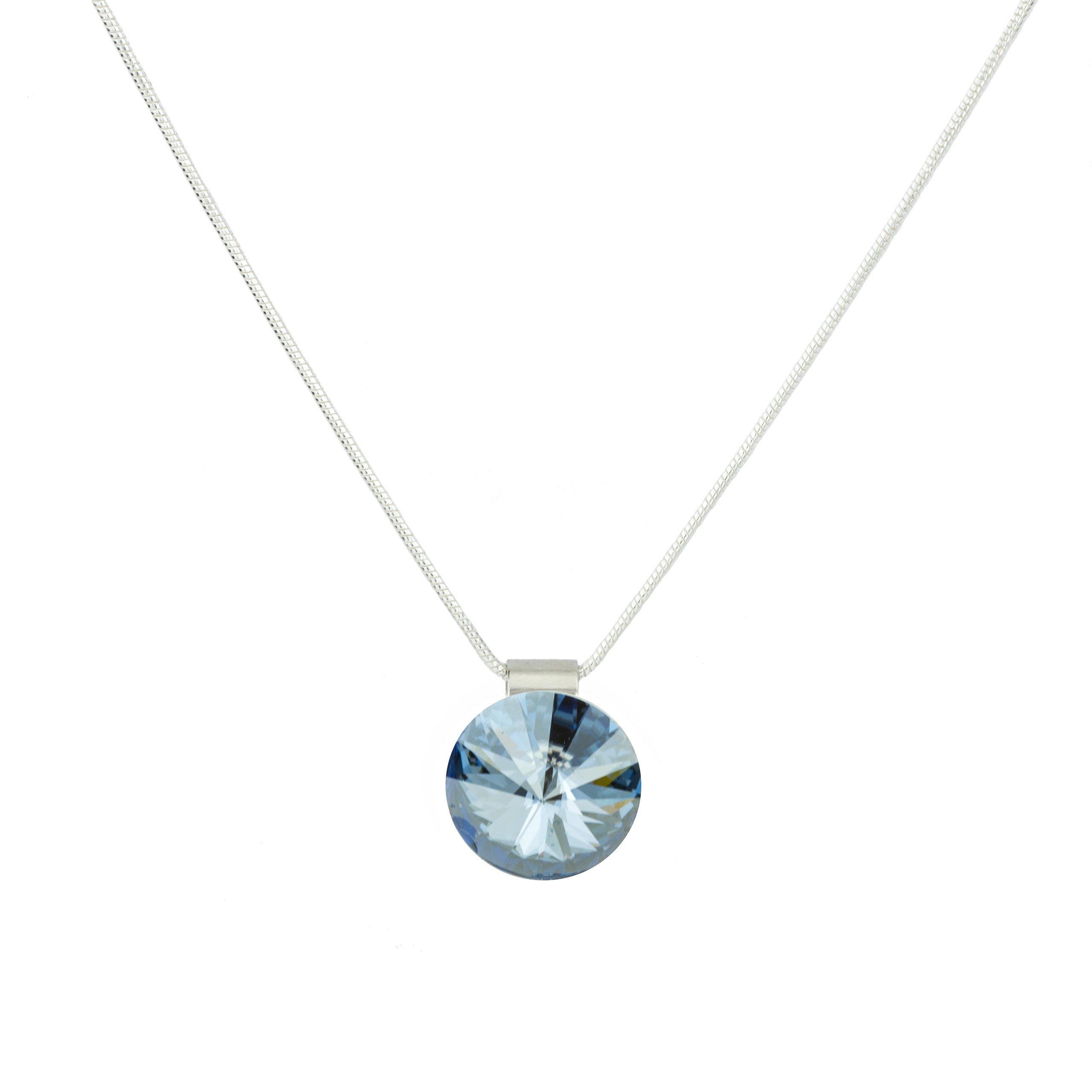 Eve S jewelry collana da donna con ciondolo Swarovski Elements Crystal Blue Shade placcati argento r