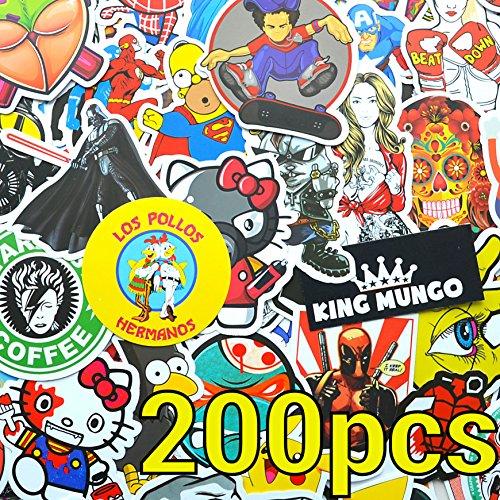 200 pezzi Adesivo di alta qualità! 200pcs adesivi per snowboard, skateboard, macbook, moto, valigia, notebook Adesivi vintage set Adesivi in vinile di alta qualità decalcomanie - King Mungo KMST002