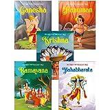 My First Mythology Tale (Illustrated) (Set of 5 Books) - Mahabharata, Krishna, Hanuman, Ganesha, Ramayana - Story Book for Ki