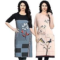 Navlik Women's Crepe Stitched Kurta Combo Pack of 2 ()