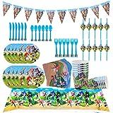 REYOK Sonic Reutilizable Party Supplies Juego de decoración 82 Piezas Suministros de Fiesta Sonic Party Vajilla Paquetes Incl