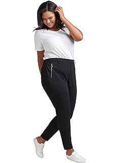 c2a392ce59974a Zizzi Damen Hose Cropped Elegant Lang Anzughose Schwarz, Große Größen 42-56