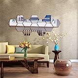 Set met spiegelende muurstickers, 12 stuks zeshoekspiegel, verwijderbare kunst, doe-het-zelf thuisdecoratie, zeshoekige acryl