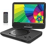 """WONNIE 9.5"""" Tragbarer DVD-Player drehbares HD Display 4 Stunden Akku, Unterstützt USB/SD Slot, AV Out/IN, mit 1.5M Auto-Ladegerät und Stromadapter (Schwarz)"""