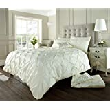 Luxury Alford Alexander Pin Tuck Pinch Pleat Duvet Quilt Cover Reversible Diamond Bedding Set With Matching Pillowcases Cream