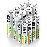 EBL 16pcs 1.2V AA AAA Ni-MH Batterie Ricaricabili Combinate, Confezione 8 X 2300mAh AA Pile Ricaricabili & 8 X 800mAh AAA Pil