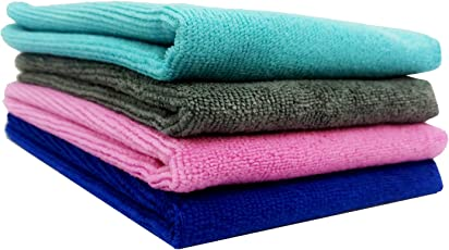 WipeWash Microfiber Car Cleaning Cloth Duster for Washing, Dusting, Polishing Dashboard and More, 40x40cm (Multicolour, MCC-4432-4MULT) - Set of 4
