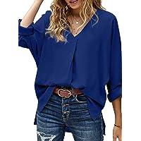 Modasua Camicia Donna a Manica a 3/4 Top Chiffon Blusa Elegante Camicetta Manica Lunga Scollo V Camicetta Camicia Bavero…