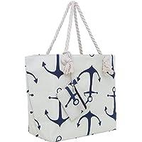 Große Strandtasche mit Reißverschluss 58 x 38 x 18 cm maritimes Design Anker beige blau Shopper Schultertasche Yacht…