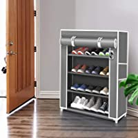 Keekos Premium 4-Tiers Shoe Rack/Multipurpose Storage Rack with Dustproof Cover Shoe rack for Home_4 Grey